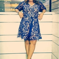 Honeydew's Glamshot: Stunning!! Sinach Rocks Floral Lace Skater Dress